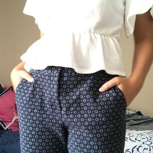 navy blue pattern pants